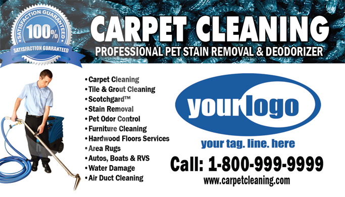 Carpet Cleaning Business Cards #C0007 (FRONT VIEW)